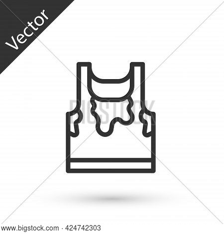 Grey Line Sweaty Sleeveless Sport T-shirt Icon Isolated On White Background. Vector