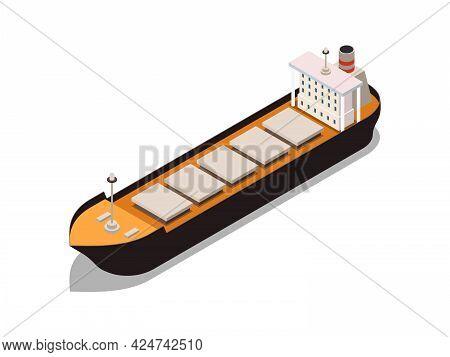 Dry Bulk Carrier Ship Isometric Icon 3d Vector Illustration