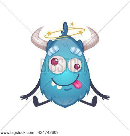 Cute Cartoon Creature Of Blue Color With Horns Feel Dizzy Vector Illustration