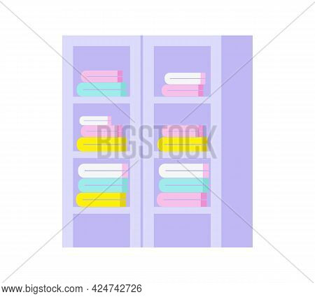 Flat Icon With Colorful Folded Linen In Rack With Glass Doors Vector Illustration
