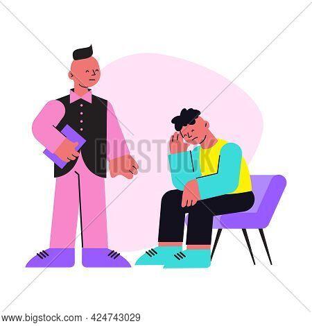 Flat Icon With Upset Man Talking To Psychologist Vector Illustration