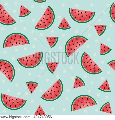Vector Summer Background With Watermelons. Seamless  Paper With Watermelon Slices.