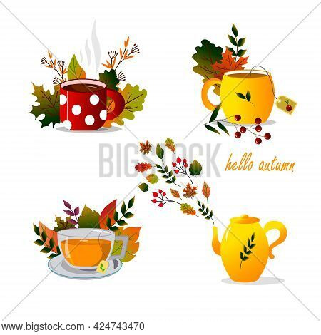 Set With Different Cups, Teapot And Autumn Leaves. Vector Illustration. For Use In Prints, Postcards