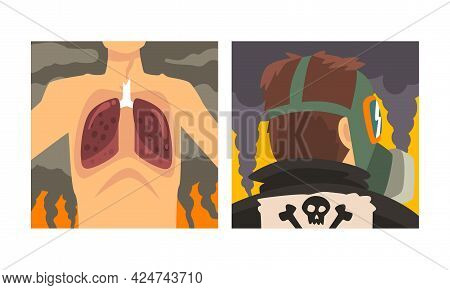 Man Suffering From Industrial Smog And Respiratory Disease Caused By Air Pollution Vector Set