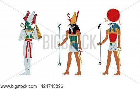 Ra, Horus And Osiris As Ancient Egyptian God And Deity Vector Set