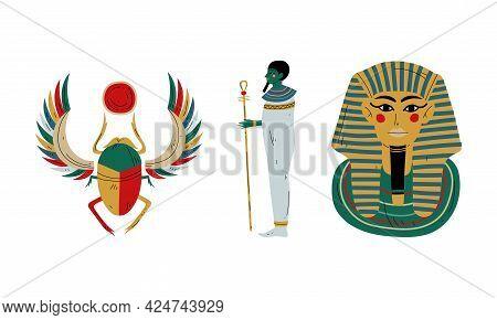 Kheper Or Scarab Beetle And Pharaoh Tutankhamun Tomb As Ancient Egyptian Religion Symbol Vector Set