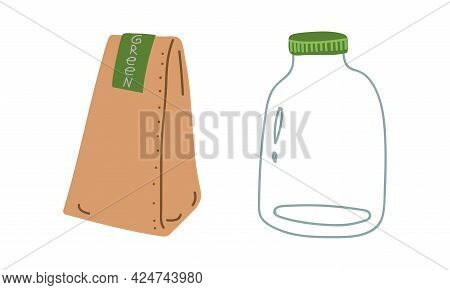 Craft Paper Package And Glass Jar As Everyday Reused Object Vector Set