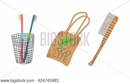 Zero Waste With Wooden Brush And Canvas Bag As Everyday Reused Object Vector Set