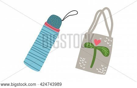 Zero Waste With Water Flask And Canvas Bag As Everyday Reused Object Vector Set