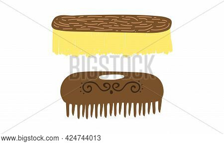 Zero Waste With Brush And Haircomb As Everyday Reused Object Vector Set
