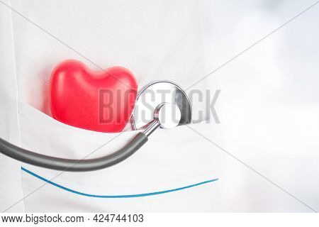 Cardiology Concept. Health Care And Patient, Failure And Diseases Concept. Red Heart Shape And Medic