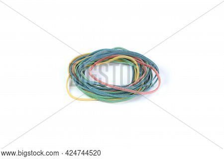 Colored Elastic Bands On White Background. Rubber Band.