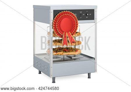 Rotating Tiered Pizza Merchandiser Racks With Best Choice Badge, 3d Rendering Isolated On White Back