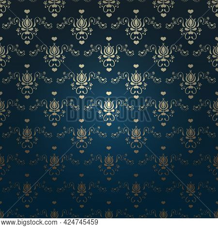 Victorian Dark Background. Beautiful Damask Ornament. Gold Elements And Glow Effect Background. Vect