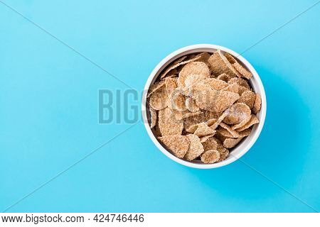 Cereal Breakfast Cereal Dry Breakfast In A Bowl On A Light Blue Background. Top View