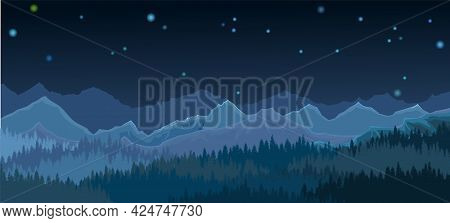 Pine Forest At Night. Silhouettes Of Coniferous Trees In The Darkness. Mountains. Dark Landscape Hor