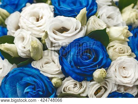 Decorative Wedding Bouquet Of Flowers Blue And White Roses Texture Background, Close-up.