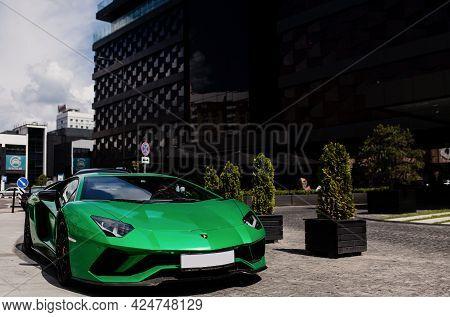 Minsk, Belarus-june 2021: Lamborghini Aventador On The Streets. Car. City. Luxurious. Tuning. Superc