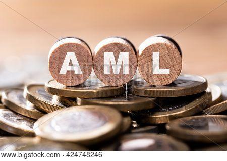 Aml Wooden Letter Word. Anti Money Laundering