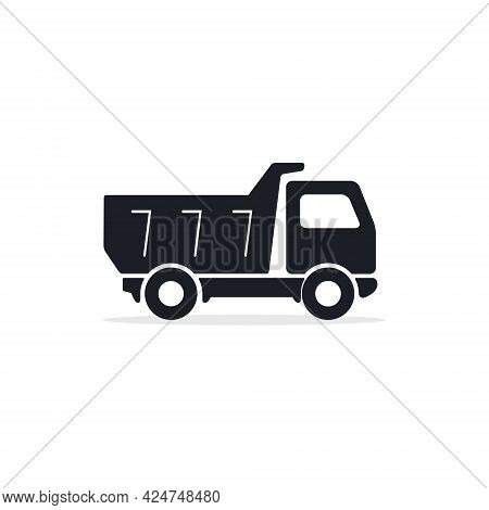 Dump Truck Flat Vector Icon, Black Isolated Silhouette.