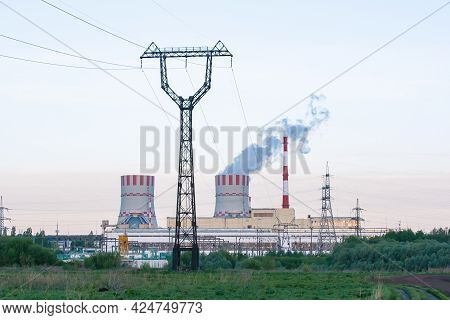 Cooling Towers Of Nuclear Power Plant Emissions Of Steam In The Air Atmosphere In Industrial Zone Wi