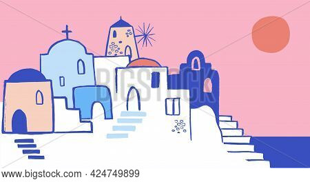 Greece Hand Drawn Illustration. Santorini Old Town Streets, Traditional And Famous Houses And Church