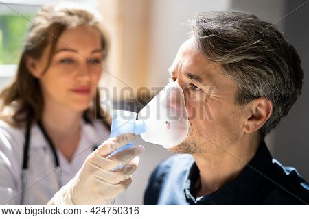 Asthma Copd Breath Nebulizer And Mask Given By Doctor Or Nurse