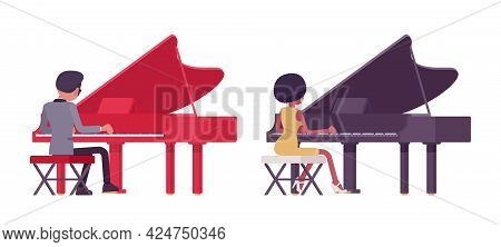 Musician, Jazz Performers Man, Woman Playing Grand Piano, Rear View. Blues Band Or Pop Music Artists