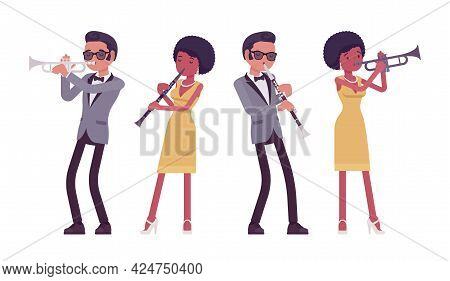 Musician, Rock And Roll Performers Man, Woman Playing Clarinet, Trumpet. Blues Band Or Pop Music Art