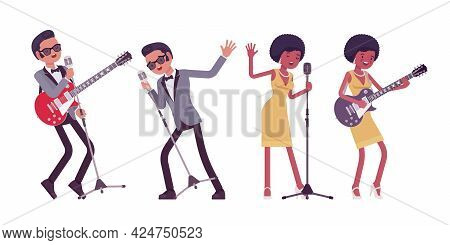 Musician, Rock And Roll Performers Man, Woman Playing Guitar, Singing. Blues Band Or Pop Music Artis