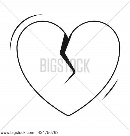 Vector Isolated Simple Flat Icon. Heart With A Crack In The Middle. Sticker End Of Love, Broken Hear