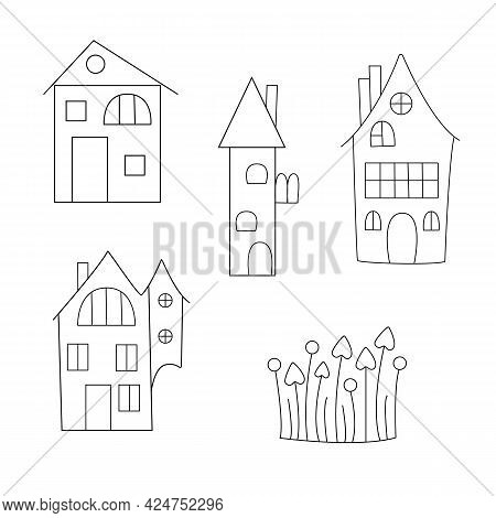 Halloween Haunted Houses Set, Simple Doodle Style Cute Outline Vector Illustration, Autumn Tradition