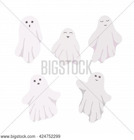 Little Cute White Ghosts With Emotions Set Vector Illustration On The White Background, Cute Spooky