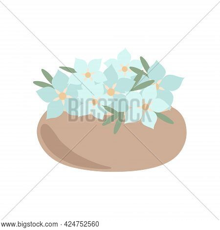 Bohemian Vase With Fancy Blue Flowers In Simple Flat Style Abstract Vector Pastel Colored Illustrati