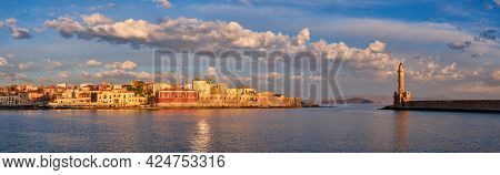 Panorama of picturesque old port of Chania is one of landmarks and tourist destinations of Crete island in the morning on sunrise. Chania, Crete, Greece