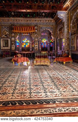 Takhat Vilas (Maharaja Takhat Singh's Chamber) decorated room in Mehrangarh fort. Jodhpur, Rajasthan, India