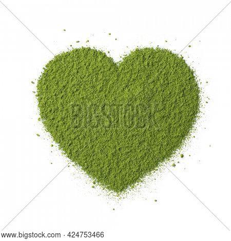 Heart of traditional green Japanese Matcha tea powder close up