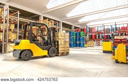 forklift with pallets inside a warehouse. nobody around. 3d render.