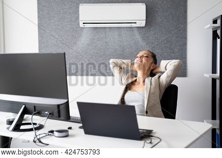 Happy Businesswoman Working In Office With Air Conditioning