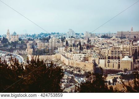 Jerusalem, Israel, 01.01.2018: Panoramic View Of Jerusalem. Abbey Of The Dormition City Walls And Ci
