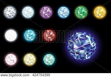 Set Of Realistic Luminous Gems Of Different Colors. Ruby, Diamond, Sapphire, Emerald, Blue Topaz, Am