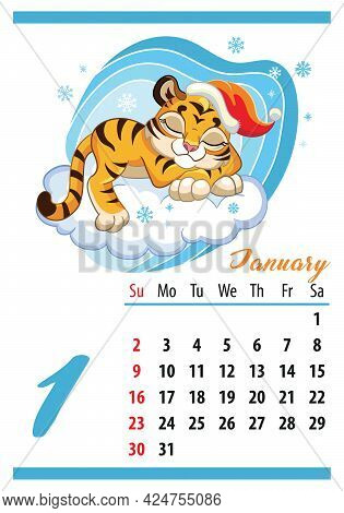 Wall Calendar For 2022, January. Cute Cartoon Tiger Is Sleeping On A Cloud. The Symbol Of The Year.