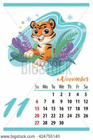 Wall Calendar For 2022, November. Cute Cartoon Tiger Looks Out Of The Bushes. The Symbol Of The Year