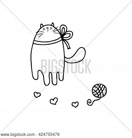 Doodle Of Cat With A Bow And A Ball Of  Yarn. Perfect For Scrapbooking, Textile And Prints. Hand Dra
