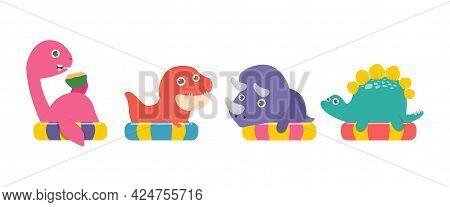 Set Of Summer Cute Dinosaur In Swimming Nd Rubber Ring, Tyrannosaurus, Triceratops,stegosaurus, Ness