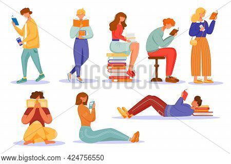 Books Reading Flat Vector Illustrations Set. School Education. Students Studying Textbooks. Keen Rea