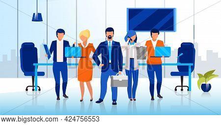 Professional Business Team Flat Vector Illustration. Confident Businessmen And Businesswomen Cartoon