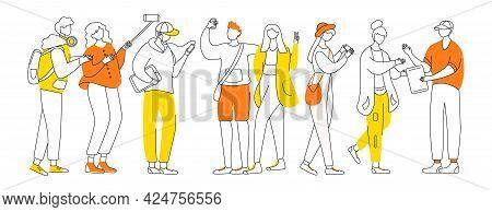 Millennials Flat Contour Vector Illustration. Teenager Culture. Stylish Guys, Girls. Teen Men, Women