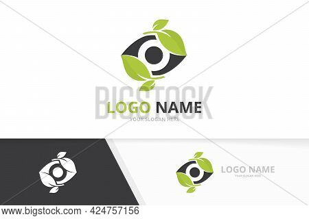 Vector Eye And Leaf Logo Combination. Unique Eco Ophthalmology Logotype Design Template.