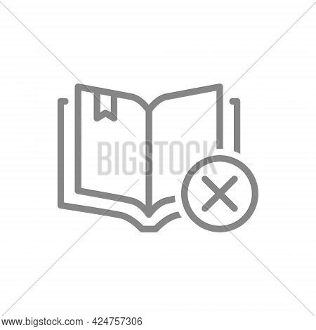 Open Book With Cross Checkmark Line Icon. Book Rejected, Library Symbol